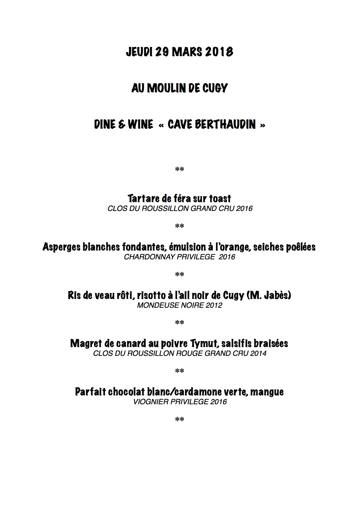 DINE & WINE MOULIN DE CUGY 2018 2